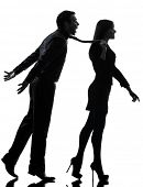 one caucasian couple woman seductress bonding concept  in silhouette studio isolated on white backgr