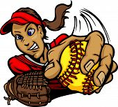 stock photo of softball  - Vector Cartoon of a Softball Player Pitching - JPG