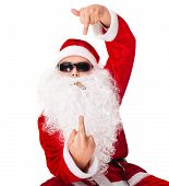 Santa Claus Wearing Sunglasses And Smoking A Cigar Showing His Middle Finger Isolated On White Backg