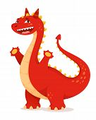 cute red cartoon dragon with cheerful smile