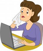 Illustration of a girl writer crying in front of her computer