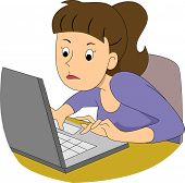 stock photo of encoding  - Illustration of a girl writer typing fast on her laptop - JPG