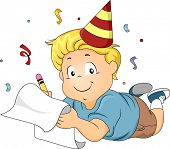 Illustration of a Boy Wearing a Party Hat Writing His New Year's Resolutions