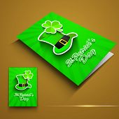 St. Patrick's Day greeting card or flyer with Leprechaun hat and shamrock on brown. EPS 10.