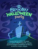 Spooky graveyard. Halloween card\poster. Vector illustration.