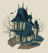 Spooky Halloween house. Vector illustration.