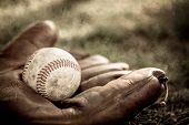stock photo of stitches  - Vintage style baseball glove and ball - JPG