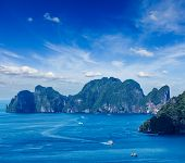 Aerial view of Phi Phi Leh island in Andaman Sea, Krabi Thailand