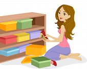 image of shoe-box  - Illustration of a Woman Arranging Boxes of Shoes on a Wooden Shelf - JPG