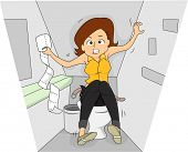 Illustration of a Woman in a Rest Room Going Through a Bout of Irritable Bowel Sydrome