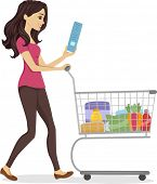 stock photo of grocery cart  - Illustration of a Woman Pushing a Cart Filled with Grocery Items - JPG