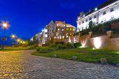 Granaries and water gate in Grudziadz at night, Poland