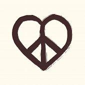 Isolated Heart Shape Peace Symbol Brush Style Composition Eps10 File
