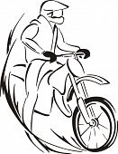 Sketch Of Biker On Bike
