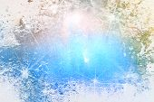 Abstract textured Christmas background: blue and white patterns / lights. For art texture, grunge de