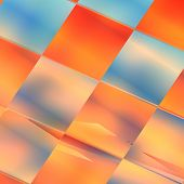 Blue and orange squire abstract futuristic background. For creative layout design, scientific illustrations, and web template or site wallpaper