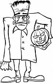 picture of frankenstein  - Black and White Cartoon Illustration of Spooky Halloween Zombie or Frankenstein Like Monster for Coloring Book - JPG