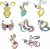 Stylized Bees, Wasps And Butterflies