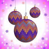 Three Knitted Christmas Balls