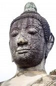 Face Closeup Of Buddha Statue In Wat Mahathat, A Ruined Temple In Ayuthaya, Thailand.