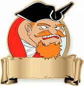 stock photo of peg-leg  - The angry captain of the piracy ship with red moustaches - JPG