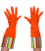 Rubber dishwashing gloves