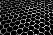 Steel Grid With Hexagonal Holes In Diagonal Perspective View