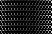 Steel Grid With Hexagonal Holes Under Left And Right Light