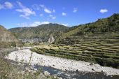 stock photo of ifugao  - blue skies above the ancient ifugao rice terraces in northern luzon the philippines - JPG