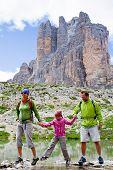 Hiking, Family on mountain trek - Tre Cime di Lavaredo