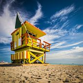 Lifeguard post on South Beach, Miami, Florida.