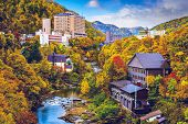 Jozankei, Japan hot spring resort town during the autumn season.