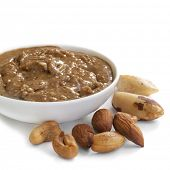 Nut spread, made with cashews, almonds and brazil nuts.