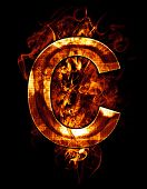 c, illustration of  letter with chrome effects and red fire on black background