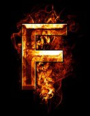 f, illustration of  letter with chrome effects and red fire on black background