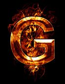 g, illustration of  letter with chrome effects and red fire on black background