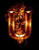 u, illustration of  letter with chrome effects and red fire on black background