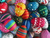 Easter eggs background 3d illustration