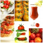 Collage of tomatoes showing caprese, bruschetta and tomato juice