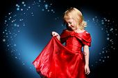 pic of little angel  - Portrait of a smiling little angelic girl in a beautiful red dress - JPG