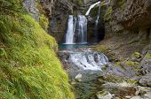 view of a waterfall in Ordesa Valley, Pyrenees, Huesca, Aragon, Spain