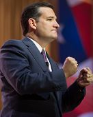 NATIONAL HARBOR, MD - MARCH 6, 2014: Senator Ted Cruz (R-TX) speaks at the Conservative Political Ac