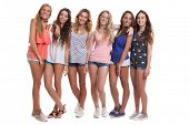group of healthy tanned smiling summer teenage girls