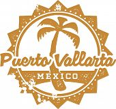 Vintage Style Puerto Vallarta Mexico Vacation Stamp