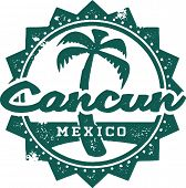 Vintage Style Cancun Mexico Vacation Stamp