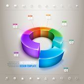 Vector 3d pie chart infographic design template. Elements are layered separately in vector file.