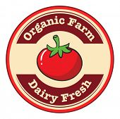 Illustration of a tomato with a dairy fresh and organic farm label on a white background