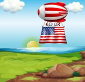Illustration of a floating balloon with the flag of the United States