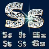 Ultimate vector alphabet of diamonds and platinum ingot. Six options. Letter s