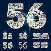 Ultimate vector alphabet of diamonds and platinum ingot. Six options. Numbers 5 6